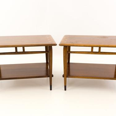 Lane Acclaim 2-Tier Walnut Mid Century Side End Tables - Matching Pair - mcm by ModernHill