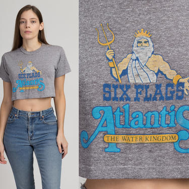 """Vintage 80s Six Flags Atlantis Crop Top Tee - Small   """"The Water Kingdom"""" Heather Gray Cropped Graphic Tourist T Shirt by FlyingAppleVintage"""