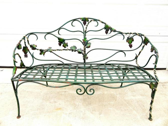 VTG Wrought Iron GRAPEVINE OUTDOOR GARDEN PATIO BENCH Woodard Salterini YARD ART