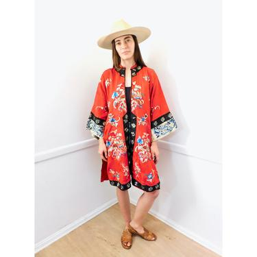 Chinese Silk Hand Embroidered Robe // vintage dress boho hippie red Asian kimono jacket embroidery blouse 60s 70s // O/S by FenixVintage