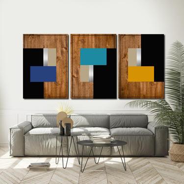 Abstract Painting, Minimalist Large Art, Wood Art, Wall Decor, Mid Century Modern, Wall Sculpture Bedroom Art Acrylic Home Decor Geometric by LauraAshleyWoodArt