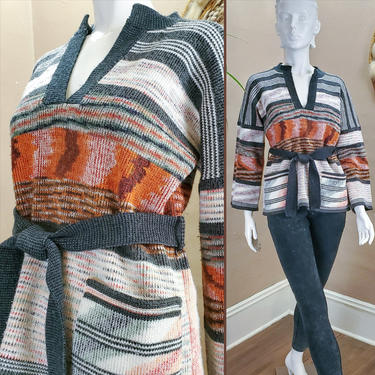 70s Wool Belted Bell Sleeve Space Dye Sweater V Neck Knit Pullover Belted Tunic Size Small Medium Boho Hippie Stripe Top Fall Winter Clothes by forestfathers