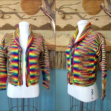 RAINBOW BRIGHT Vintage 70s Sweater, 1970s Multi Bright Hand Knit Chunky Wool Cardigan | 60s 1960s Boho Hippie Granny Top | Size Petite Small by lovestreetsf