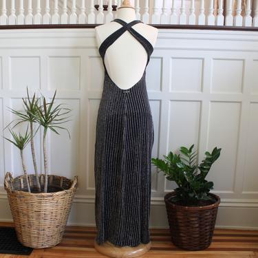 Vintage 90s Brazilian Designer Black Silver Lurex Long Open Back Maxi Dress Women's Size M by NeonSkyVintageMN
