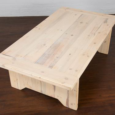 Reclaimed Rustic Pine Wood Farm Whitewashed Coffee Table by StandOutSpaces