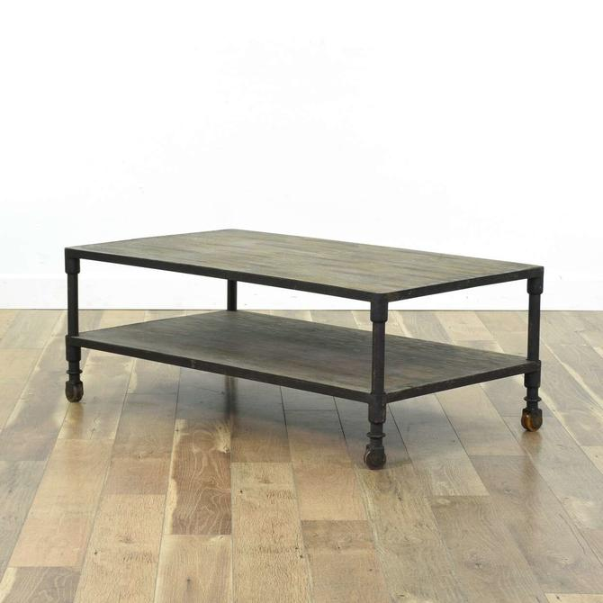 Contemporary Industrial Coffee Table W Casters