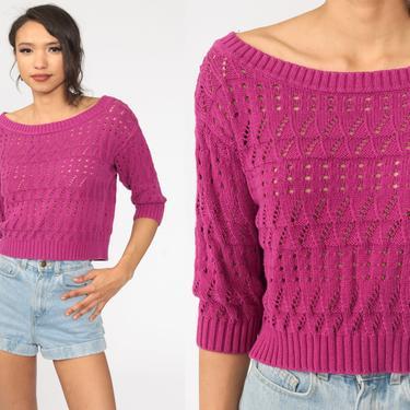 Purple Crochet Top Shirt Crop Top Y2K Bohemian SHEER Blouse Sweater Top Vintage Open Weave Boho 00s 3/4 Sleeve Cotton Small by ShopExile