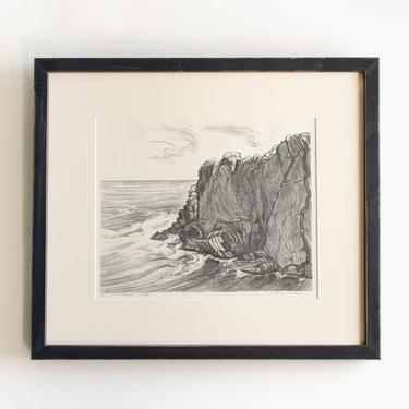 """Antique Etching Limited Edition Original Signed by American Artist Adele Watson 1873 - 1947 Titled """"Ogunquit Point 14/30"""" by HouseofSeance"""