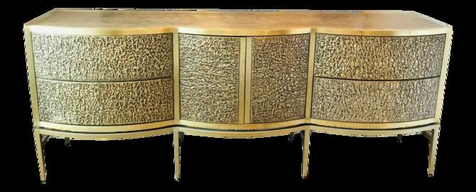 Global Views Modern Brass Foil Crinkle Long Cabinet