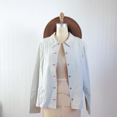 railroad stripe chore jacket - large by foganddriftwood