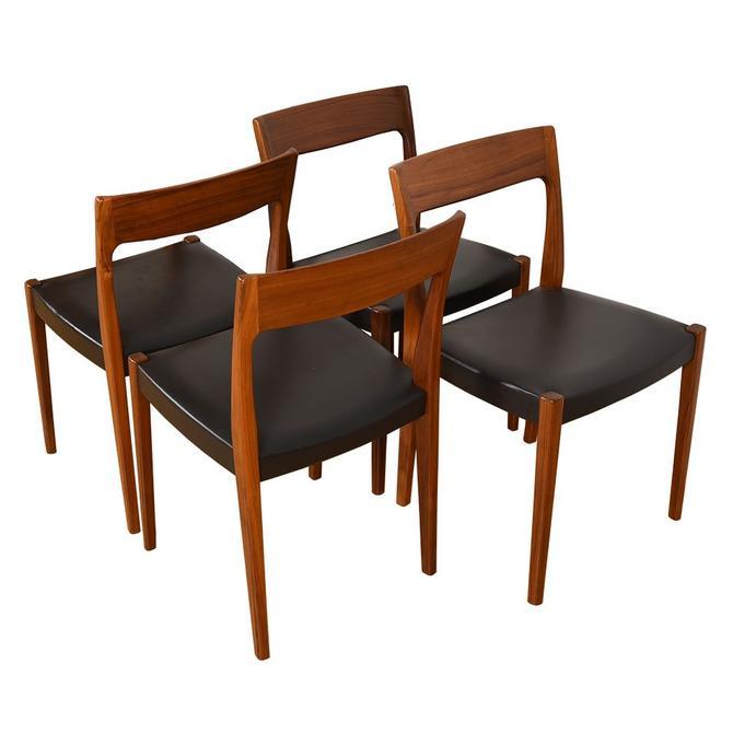 Set of 4 Scandinavian Modern Walnut Dining Chairs