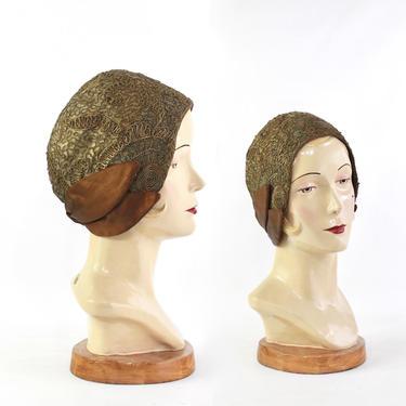 1920s Bronze Cocktail Cloche Hat - 20s Cloche Hat - 1920s Flapper Cloche - 1920s Gold Bullion Cloche Hat - 20s Gold Cloche - Antique Cloche by VeraciousVintageCo