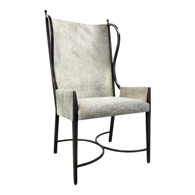 Global Views Modern Hair on Hide Iron Wingback Chair