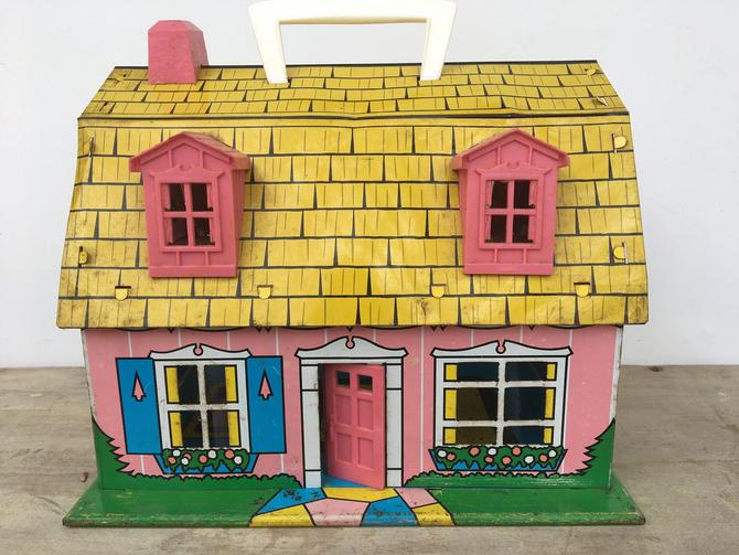 Vintage Pink Metal Dollhouse With Carrying Handle, Marx Toys, Mid Century Modern by luckduck