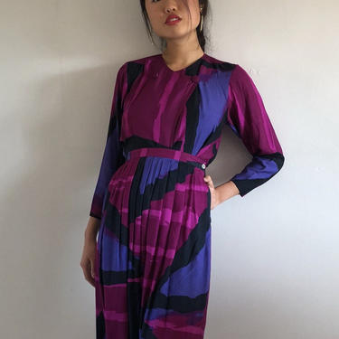 90s rayon colorblock skirt set / vintage magenta pink abstract print wrap blouse pleated midi skirt 2 piece matching set   XS S by RecapVintageStudio