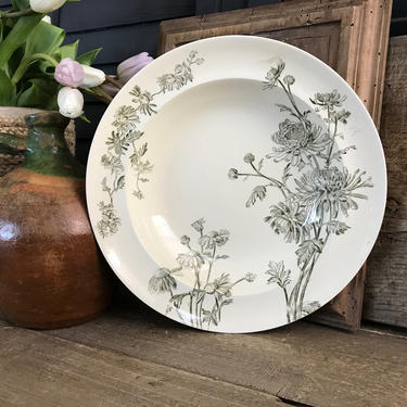 English Soup Plate Bowl, Ironstone, Floral Transferware, Chrysanthemum, J C Sons, Serving Bowls, Staffordshire England by JansVintageStuff