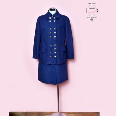 Saks 5th Ave Blue Dress Suit, 1960's Designer Skirt & Matching Jacket Saks Fifth Avenue Frank Smith Vintage Dress Womens Suit, Medium by Boutique369