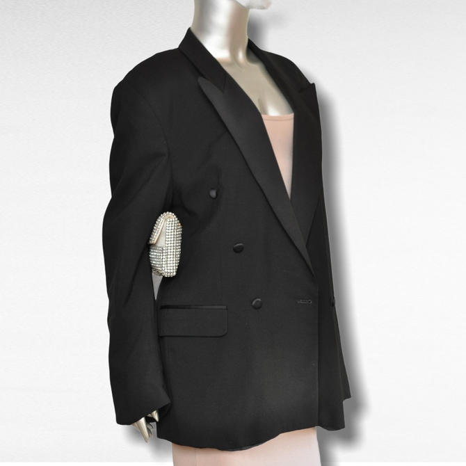 Vintage Women's Oversized Tuxedo Blazer with Satin Lapel Loose Fit Menswear Jacket by TheUnapologeticSoul