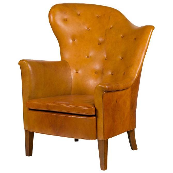 Steen Eiler Rasmussen Asymmetrical Leather Armchair for AJ Iverson, Denmark 1936