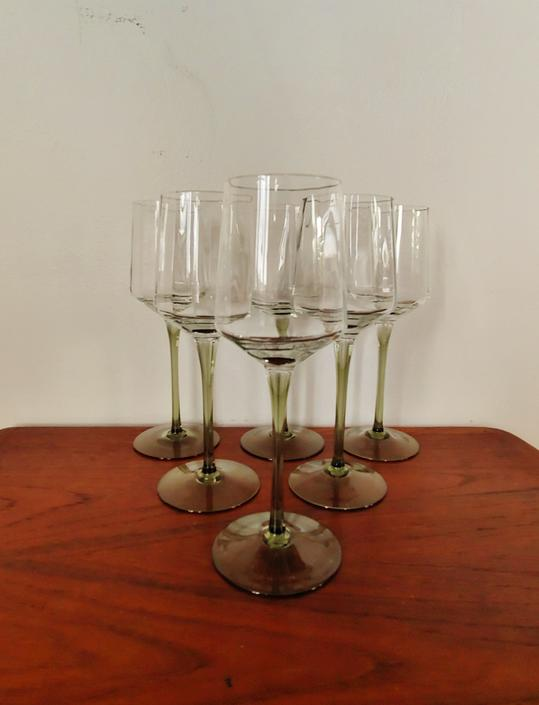 Vintage Wine Glasses with Olive Stems - Set of 6 by ModandOzzie