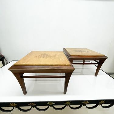 Neoclassical Mahogany & Goatskin Side Tables Hand Painted by AMBIANIC