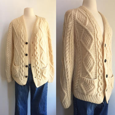 CLASSIC Vintage ARAN Hand Knit FISHERMAN Cardigan Sweater / V-Neck by CharmVintageBoutique