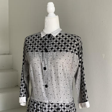 Fall Flannel 1950s Dove Grey and Black Day Dress Button Front 42 Bust Vintage by AmalgamatedShop