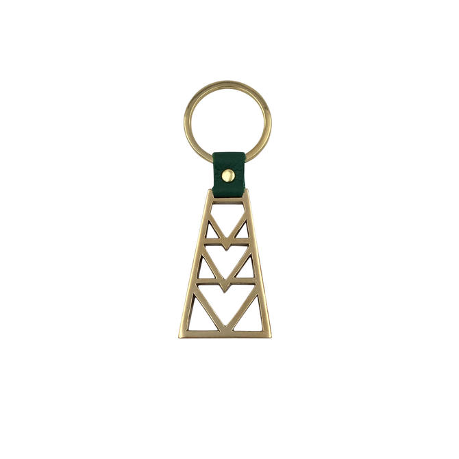 Brass Geo Key Ring with Leather Accent by Sarah Cecelia by SarahCecelia
