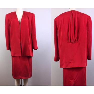 Vintage 80s FLORA KUNG Red Silk Jacket and Skirt Set Suit Draped Back Avant Garde Minimalist M/L by FlashbackATX