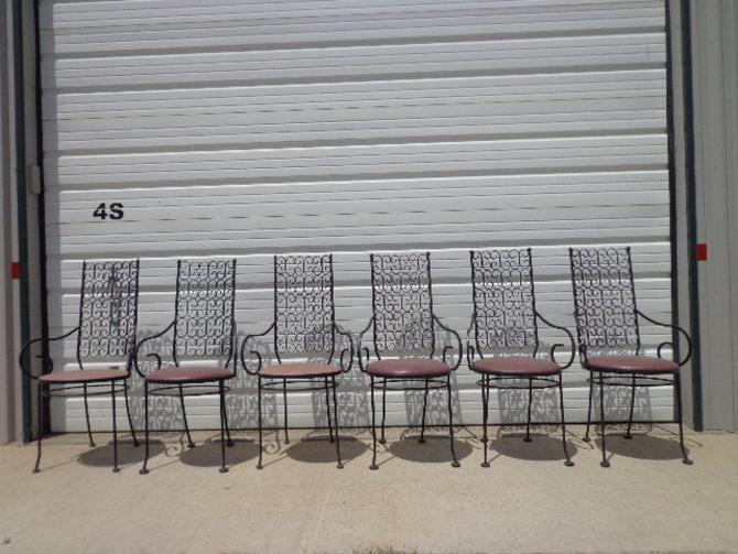 6 Arthur Umanoff Grenada Chairs Dining Indoor Outdoor Mid Century Modern Patio Chair Furniture Hollywood Regency Brass Metal Vintage by DejaVuDecors