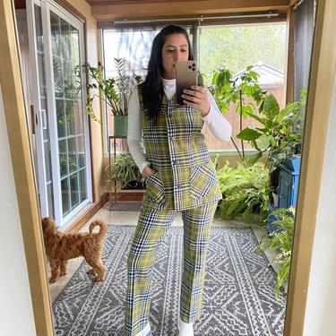 Vintage 60s Plaid Wool Mod Preppy Green 2 pc suit Pants Vest XS S by prismavintageatx