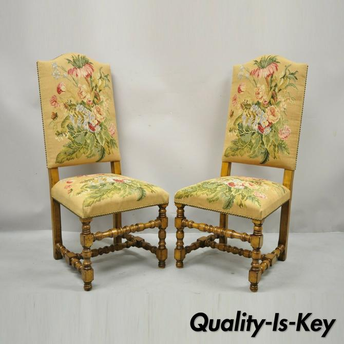 Antique English Jacobean Floral Needlepoint Tall Dining Side Chairs - a Pair