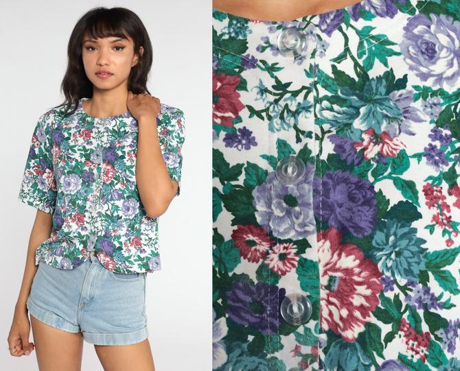 80s Floral Blouse 90s Short Sleeve Shirt Boho Grunge Shirt Button Up 80s Top Bohemian Vintage 1980s Short Sleeve Boho Large L by ShopExile