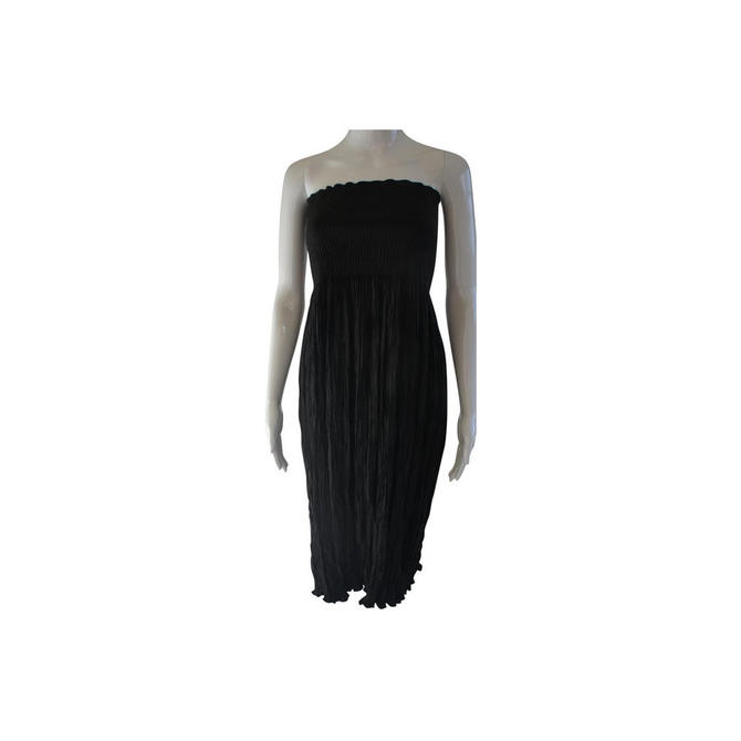NUNO Japan Black Strapless Rayon Cotton Crepe Short Casual Dress NWT by MetronomeThreads