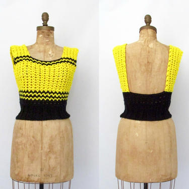 PLAYING CROCHET Vintage 70s Hand Knit Vest, 1970s Yellow & Black Acrylic Open Crochet Sweater Tank Top | 60s 1960s Hippie Boho | Size Medium by lovestreetsf