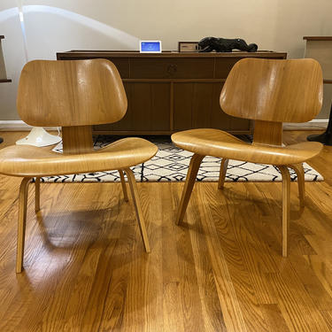Pair of Authentic Eames Molded Plywood Lounge Chair with Wood Base Herman Miller LCW by MSGEngineering