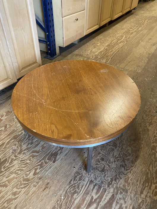 """Small Coffee Table 28"""" dia. X 12""""T  nice brushed aluminum base"""