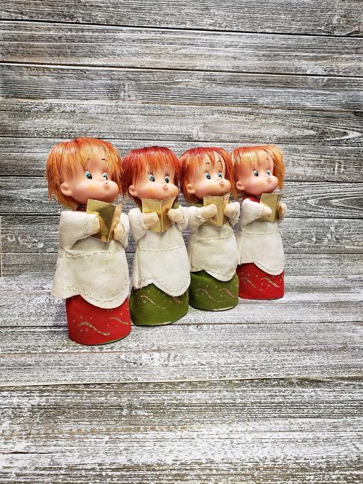 Vintage Christmas Choir, Singing Carolers, Japan Cardboard Choir Boys, Red Headed Children, Mid Century Modern, Vintage Christmas by AGoGoVintage