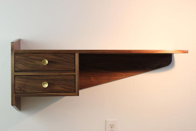 Mid Century Modern Floating Walnut Wall Console by ImagoFurniture