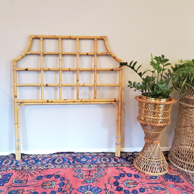 FREE SHIPPING! Vintage Rattan Headboard Twin Size, Boho Wicker Bed Frame, MCM Burnt Bamboo Crosshatch Pattern by SavageCactusCo