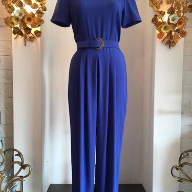 Vintage 80s jumpsuit, 1980s blue jumpsuit, rayon crêpe jumpsuit, Liz Claiborne jumpsuit, size medium, vintage pantsuit, 29 waist by melsvanity