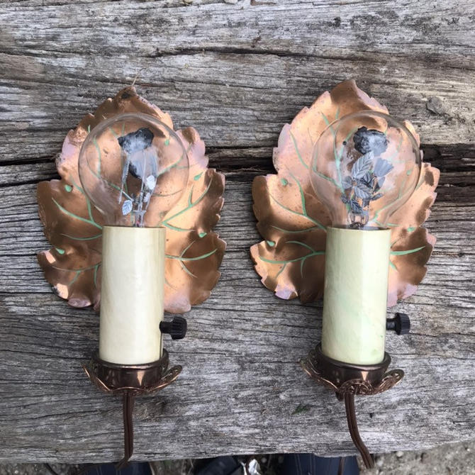 Pair of Vintage Copper Leaf Aerolux Rose Lights  Filament Glows Authentic Wall Sconces Fixtures by BrainWashington