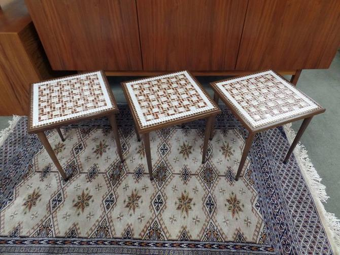 Set of three Mid-Century Modern tile top stacking tables