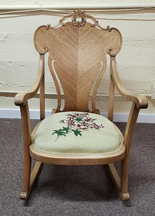 Item #DX21 Antique Rocking Chair w/ Embroidered Seat c.1920