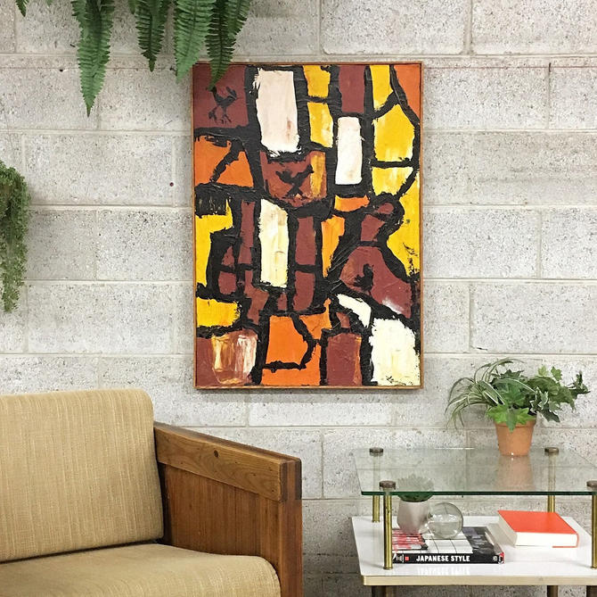 LOCAL PICKUP ONLY ————— Vintage Abstract Painting by RetrospectVintage215