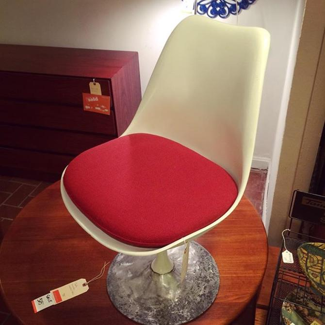 """Re-imagined"" Saarinen Side Chair with red upholstery"