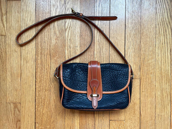 Vintage Dooney and Bourke Black and British Tan Small Original Equestrian Crossbody Purse by BlackcurrantPreserve