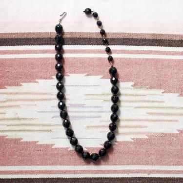 """Vintage 1960s French Jet Black Glass Bead Necklace - Faceted Choker Necklace 14.5-18"""" by SecondShiftVintage"""