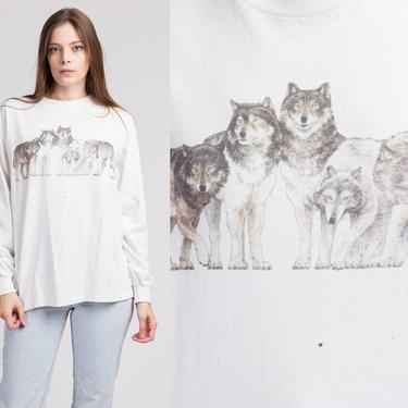90s Wolves Long Sleeve T Shirt - Large   Vintage Unisex White Wolf Graphic Animal Tee by FlyingAppleVintage