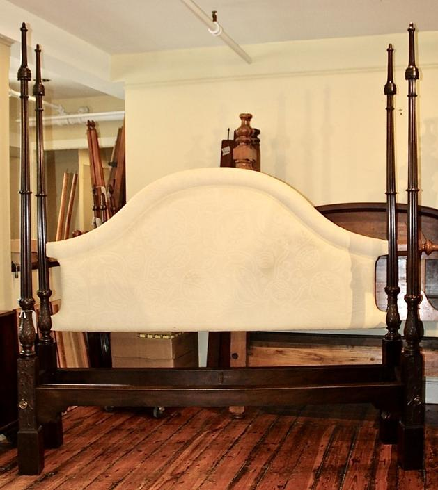 18th Century English Chippendale Tall Post Bed. Mahogany - Resized to King with Upholstered Headboard